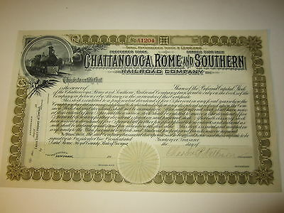 1890's Chattanooga Rome Southern RAILROAD Stock Certificate - TRAIN - Unissued
