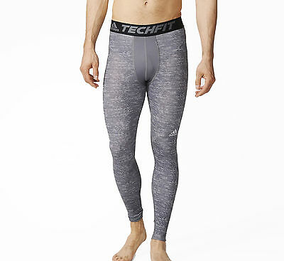 adidas Tech-Fit Base Mens Long Compression Tights - Grey