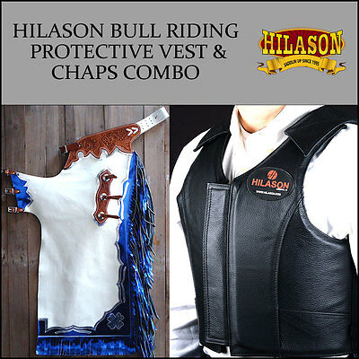 F38 Hilason Western Rodeo Bronc Bull Riding Smooth Leather Chaps Protective Vest
