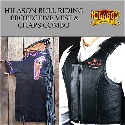 F87 Hilason Western Rodeo Bronc Bull Riding Smooth Leather Chaps Protective Vest