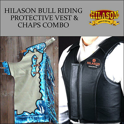 F40 Hilason Western Rodeo Bronc Bull Riding Smooth Leather Chaps Protective Vest