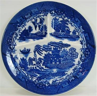 Moriyama Blue Willow Restaurant Ware Grill Plate Made In Japan Flower Basket