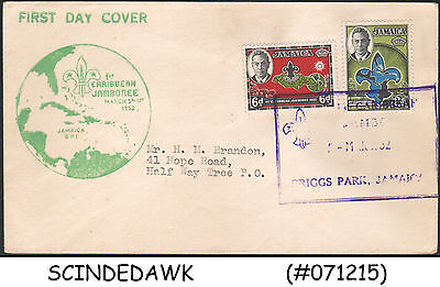 JAMAICA - 1952 1st CARIBBEAN JAMBOREE SCOUT - 2V - FDC
