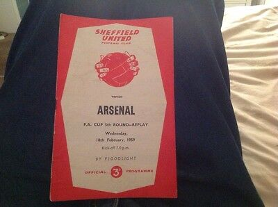 Football Programme Sheffield United V Arsenal Fa Cup1958/59