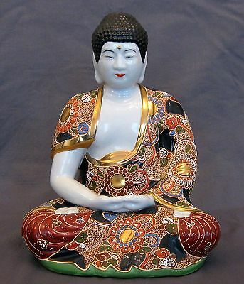 Porcelain Buddha Statue Seated Lotus, Hand Painted Signed, Large Vintage Mint