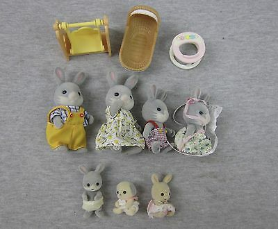 Vintage Epoch Sylvanian Family Calico Critters Cottontail Rabbit Family Lot