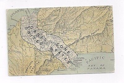 PANAMA Canal Zone antique db post card Map of the Canal Zone
