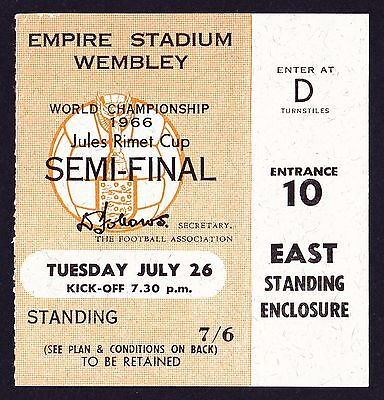1966 World Cup Semi-Final ENGLAND v PORTUGAL *Excellent Condition Ticket*