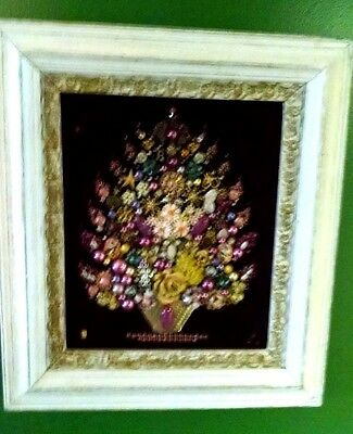 Vintage & Antique Jewelry Christmas Tree Wooden Framed On Velvet ~ Beautiful!