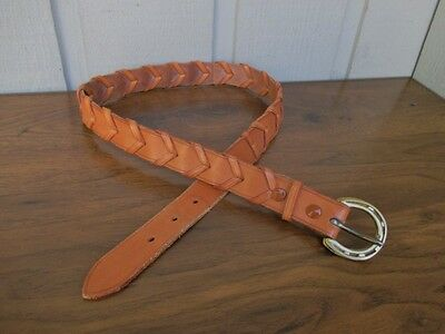 Braided Genuine Leather Belt Size 30.Brown.Polished Gold tone Buckle.