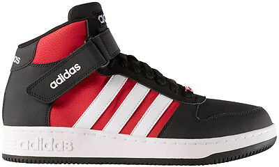 Adidas B74595 Team Court Mid Sneakers, Black/White/Bold Red