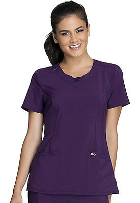 Eggplant Cherokee Infinity with Certainty Round Neck Scrub Top 2624A EGG