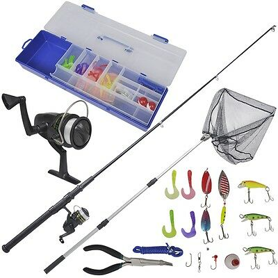 62 Piece Fishing Set with Telescopic Rod, Reel and Landing Net 1.6 m Lines Weigh