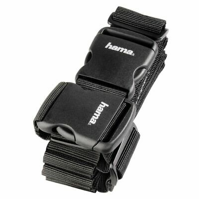 Hama 2 Way Suitcase Luggage Strap Travel Baggage Tie Down Belt - Black