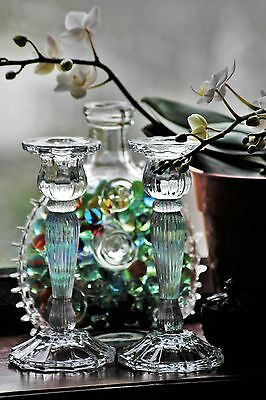 pretty glass candlesticks 18 cm tall vintage dining wedding xmas tableware