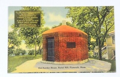 Vintage Linen Postcard Old Powder House Burial Hill Plymouth MA Unused