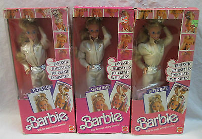 One Nrfb 1986 Super Hair Barbie Doll With Magic Styling Barrette #3101 Mattel