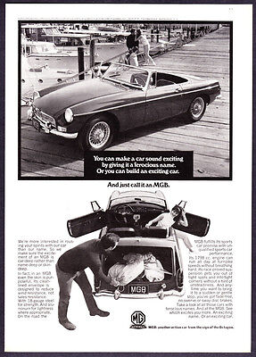 """1967 MG MGB Convertible on Dock photo """"Build an Exciting Car"""" vintage print ad"""
