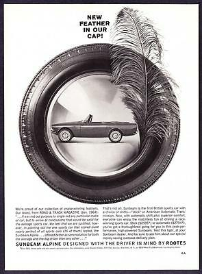 "1964 Sunbeam Alpine Convertible photo ""New Feather In Our Cap"" promo print ad"