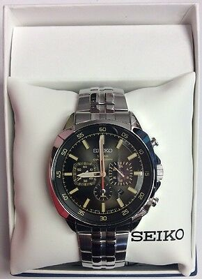 SEIKO Men's RECRAFT Series Black Dial Stainless Solar Chronograph WATCH SSC511