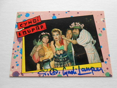 Cyndi Lauper rock star rare signed card w/ COA