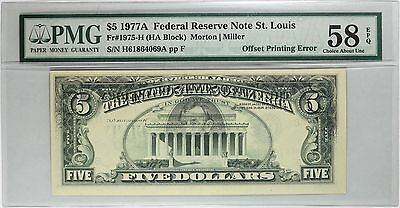 1977A $5 St. Louis FRN, Partial Front to Back Offset, PMG 58 EPQ, Fr#1975-H