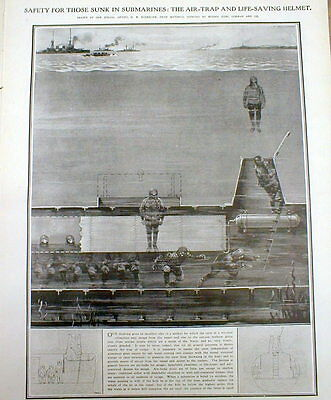 1909 illustrated newspaper early EMERGENCY DIVING SUIT & prototype DIVING HELMET