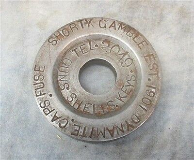 Shorty Gamble 1901 Dynamite Cap Fuse Pfeiff Des Moines Iowa OLD Paperweight Sign