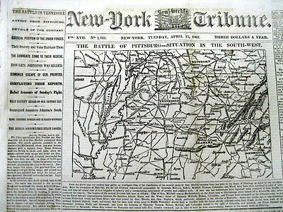 1862 Civil War newspaper with a Large detailed MAP - BATTLE of SHILOH Tennessee