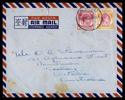 Singapore April 14 1950 2 Color Franking Airmail Cover to Australia