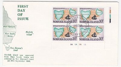 Norfolk Island Corner Block 30c cent First Day cover Maps & Ships