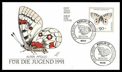April 9, 1991 Germany Butterfly Alpen Apollo First-Day Cover With Cachet