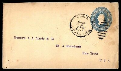 Costa Rica Limon To Us 10C Blue Postal Stationery Cover Commercial Use