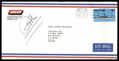 1984 Singapore Single Franking On Nice Cover With Ship Issue To New Orleans Us