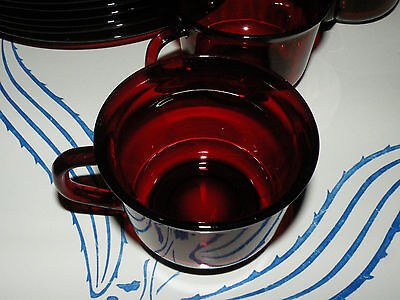Vintage Arcoroc France Classique Ruby Red Glass Coffee Cup