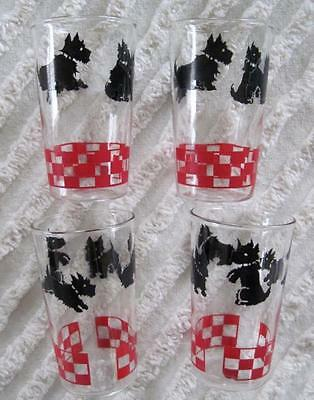 Set of Four Black Scotty Dog Scottish Terrier Red Checkerboard Glasses