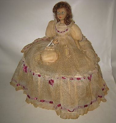 "Gorgeous 1920's Lenci  Boudoir Cloth Felt Doll Gone With Wind Dress 23"" Tall"