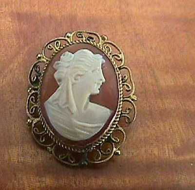 Vintage Shell Cameo Gold Plate Pendant Dainty PIN