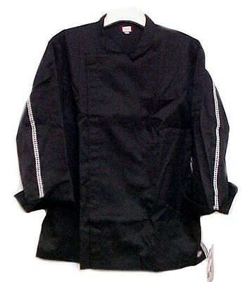 Dickies Black Tunic Chef Jacket Coat Checkered Trim CW070301 Size 36 New Brand