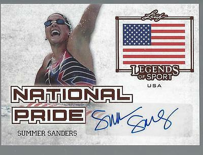 2015 LEAF LEGENDS OF SPORT AUTO SUMMER SANDERS AUTOGRAPH National Pride