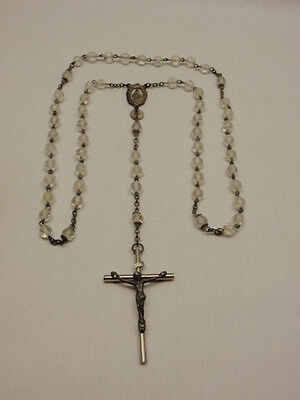 Catholic Rosary Prayer Beads Vintage Clear Faceted Bead Silver Crucifix Cross