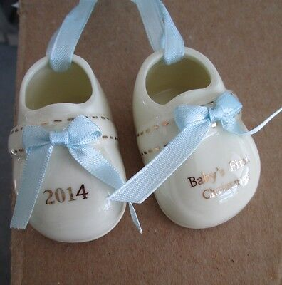 MACY'S Porcelain Boy's 2014 Baby's First Christmas Baby Booties Ornament NEW