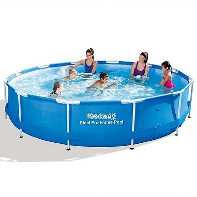 New Bestway Round Swimming Pool Steel Frame 2 Sizes Selectable Blue Backyard