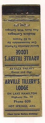 Arville Tillery's Lodge Highway 70 Hot Springs AR Garland County Matchcover 0117