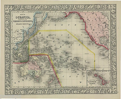 "1865 S.A. Mitchell ""Map of Oceanica exhibiting its...island Groups"""