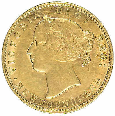 1872 Newfoundland Gold  $2 AU Details, Very Low Mintage Cat 900 in AU Rare Coin