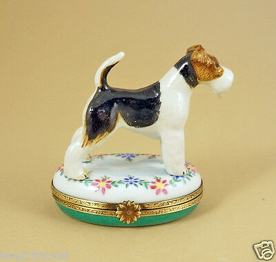 New French Limoges Trinket Box Fox Terrier Dog Puppy On Gorgeous Floral Box