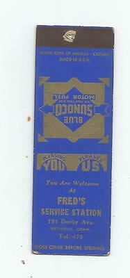 Fred's Sunoco Service Station   Matchcover 191 Darby Ave.Seymour, Conn.