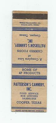 Patterson's Cannery    Matchcover  Cooper, Texas