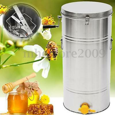 New 2 Frame Stainless Steel Honey Extractor Spinner Honeycomb Beekeeping 35x74cm